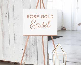 Rose Gold Wedding Easel - Rose Gold Wood Easel - Easel for Sign  - Rose Gold Display Easel - Rose Gold Floor Easel