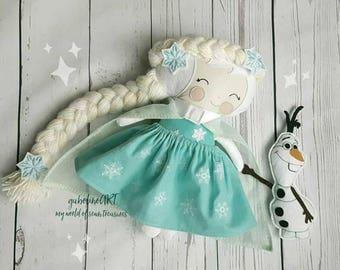 Snow Queen fabric doll-Toy doll-Cloth doll- Yarn hair- Present -Handmade-Keepsake-For girls-Birthday-Babyshower-Collectible doll