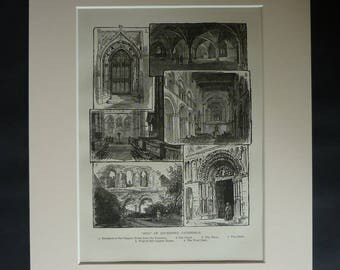 1880s Antique Rochester Cathedral Print, Available Framed, Norman Art, Church of England Gift, Kent Picture British Artwork English Heritage