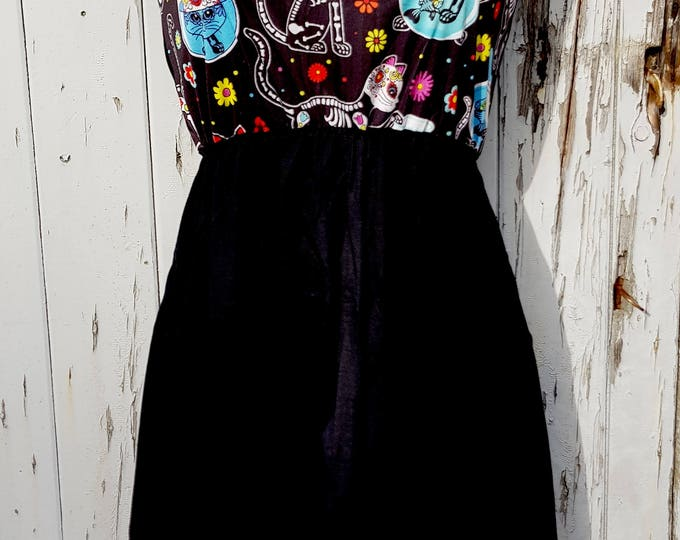 Candy Skull Cat Dress - Size 10 12 14 - Skater Rockabilly Skeleton Day of the Dead