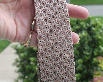 Vintage Men's Geometric Skinny Tie in Gray, Black and Brown - 50' - Mad Men - Mid Century