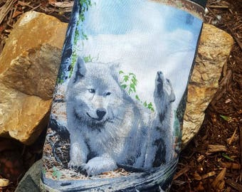 Wolf Plastic Bag Holder, Grocery Bag Dispenser, Shopping Bag Keeper, Wildlife Bag, Wolf Decor