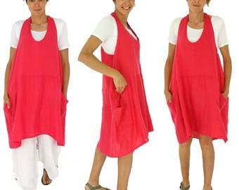 IB800R ladies carrier tunic linen balloon tunic vintage GR 38 40 42 Red