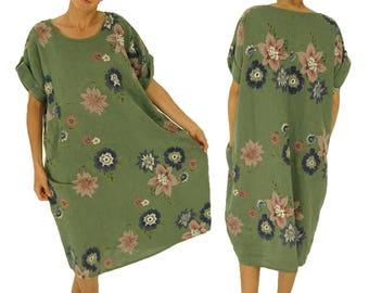 ID800GN ladies linen long tunic dress one size vintage geblühmt green short-sleeved oversize Gr. 46 48 50 52