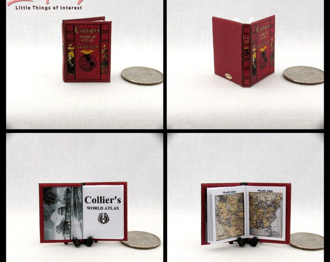 COLLIER'S WORLD ATLAS Miniature Book Dollhouse 1:12 Scale Illustrated Color 1937 Edition Education School Library Maps Continents Oceans