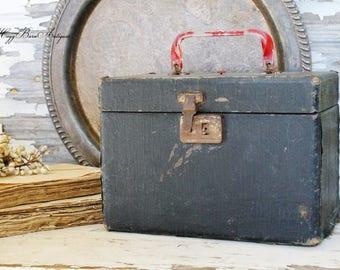 Vintage Train Case Black Red Cardboard Luggage  Wedding Wish Box Farmhouse Decor Fixer Upper