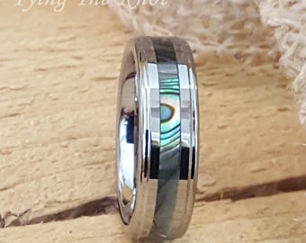 6mm Tungsten and Abalone Stripe Inlaid Personalized Wedding Band Ring - Promise Ring Engagement Ring AZ7