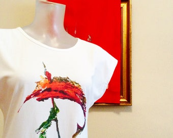 SWORDFISH white t shirt Direct to garment printing from acrylic painting