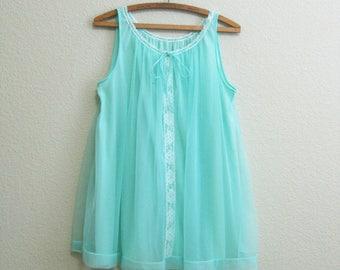 Seafoam Babydoll Nightgown Medium - Seafoam Green Chiffon Mid Century Nightie