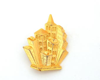 Vintage PARK LANE Pin Pendant Big City Buildings Brooch Gold Tone, City Architecture Pendant Figural Pin, Signed Jewelry, Estate Jewelry