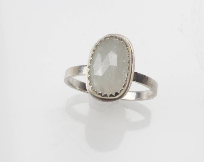 Rose cut natural white sapphire sterling silver ring. Size 6.75. Untreated stone. Wild Grace Jewelry