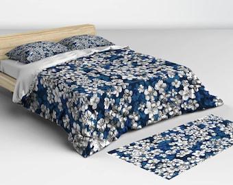 Duvet Blue, Blue Duvet Cover, Boho Duvet Cover, Duvet Cover Boho, Twin Duvet, Queen Duvet, Full Duvet, King Duvet, Duvet Blue and White