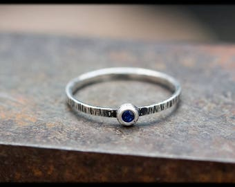 Blue sapphire engagement ring: Unusual engagement rings -Promise ring for girlfriend -Valentines gift -September birthstone - Solitaire ring