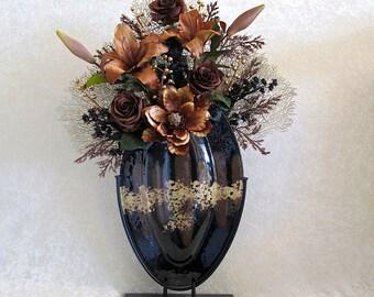 Large Silk Flower Arrangement with Brown Lilies and Magnolia, Silk Floral Arrangement, Home Decor, Foyer Flower Arrangement, Tall Floral