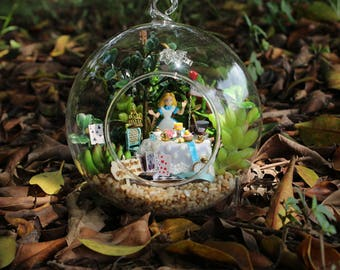 Alice in wonderland-Alice afternoon tea-Glass Ball * Light* DIY Handcraft Miniature Project Kit * Birthday Gift