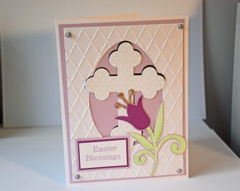 Easter Blessings Handmade Greeting Card - Embossed Cross and Spring Flower