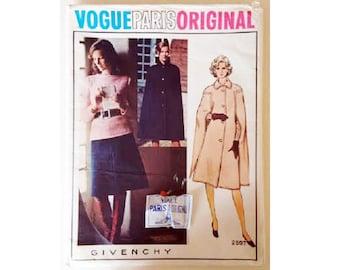 "Part UNCUT with Original Label Vogue 2592 Paris Original Givenchy Vintage 70's Cape, Skirt and Top Sewing Pattern Size UK 16 Bust 38"""