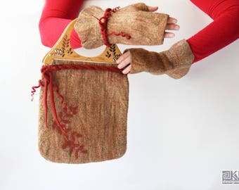 Beige and red, Small felted bag, Chic felted purse, Cinnamon bag, Wet felted bag, Hand felted purse, Felted handbag, Felted Art to Wear
