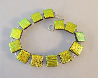 8 Inch Yellow Gold Dichroic Fused Glass Bracelet, Fused Glass, Fused Glass Bracelet, Glass Bracelet, Dichroic Bracelet, Gold, Yellow