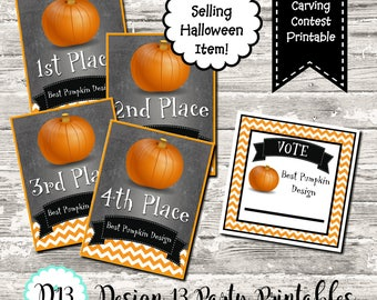 INSTANT DOWNLOAD Pumpkin Carving Contest Voting Cards and Awards Digital Printable