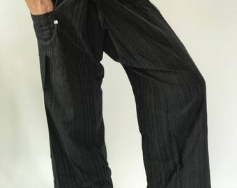 2TC0010 Thai Fisherman Pants with Thai hand woven fabric on waist side, Wide Leg pants, Wrap pants, Unisex pants
