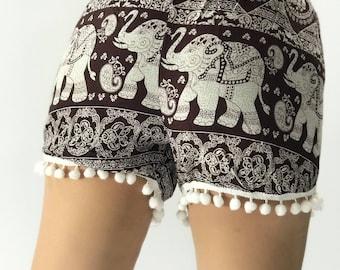 PP0055 Pom pom Shorts Elephant Print Beach Summer Hippies Boho Fashion Chic Clothing Aztec Ethnic Bohemian Ikat Boxers Short Pants Unique