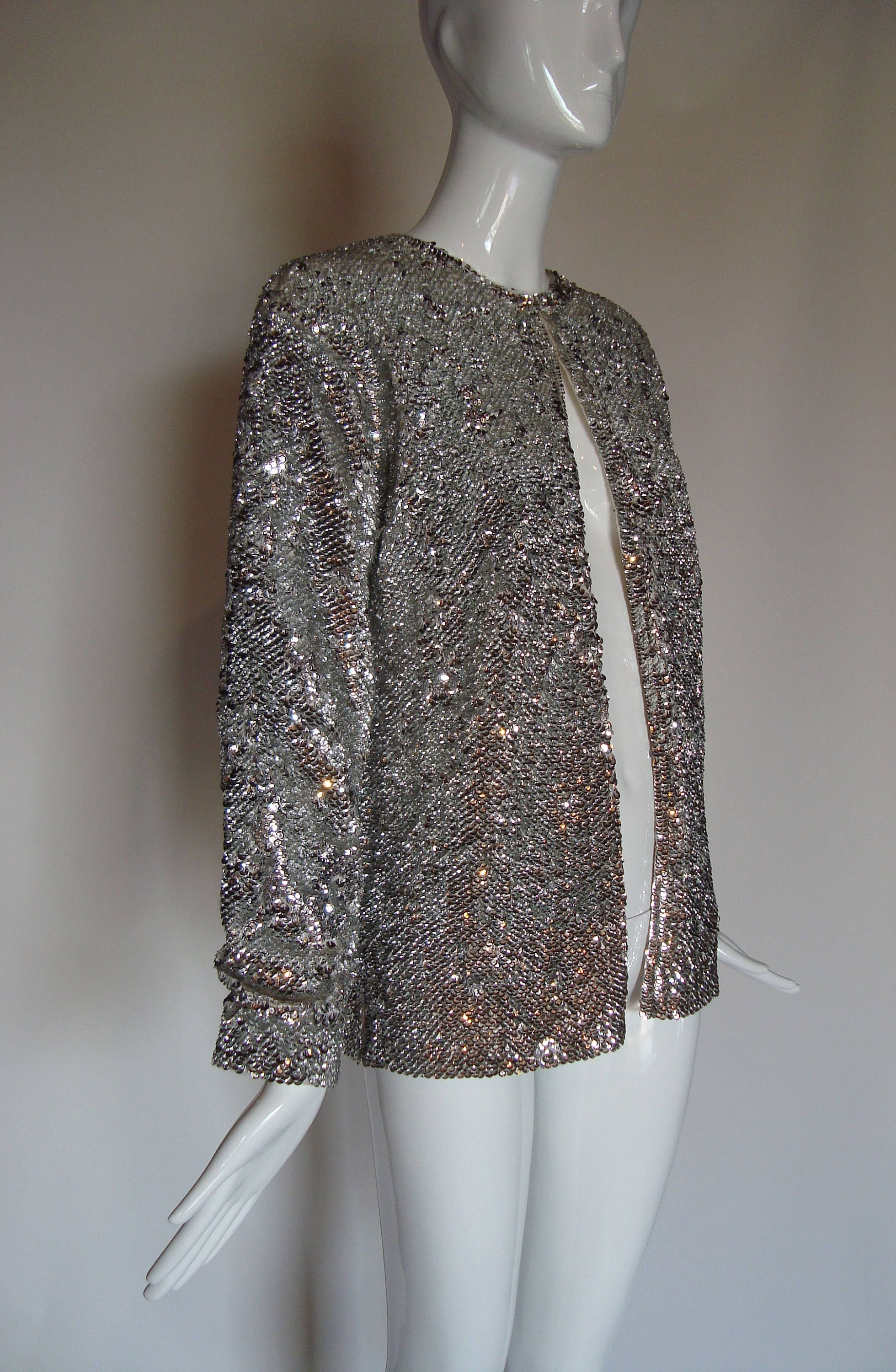 SOLD Fantastic 60s silver sequined sweater Cardigan JACKET