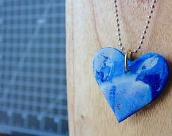 Blue Swirl Polymer Clay Glitter Necklace