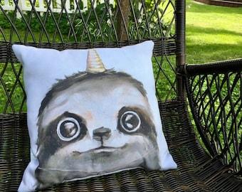 Slothicorn Decorative Throw Pillow - from original slothicorn artwork