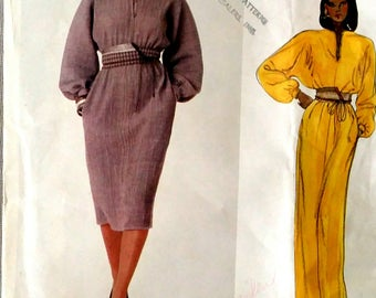 Vogue 2907 Geoffrey Beene dress pattern, size 10, petite, vintage, 80s,