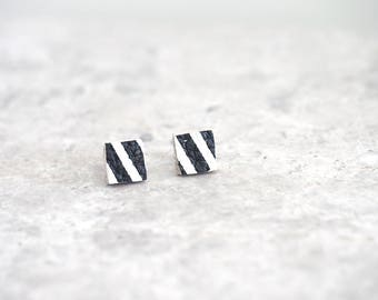 Square Stud Earrings, Eco Friendly Gift for Friend, Australian Seller, Small Earrings for Sensitive Ears, Black and White Leather Jewelry