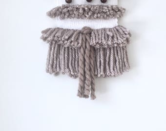 Brown and White Woven Wall Hanging / Weaving with Wooden Beads