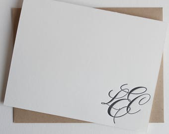 Letterpress Thank you card set with monogram, folded thank you cards in calligraphy