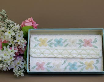 Vintage White Pearl Beaded Wedding Clutch, 50s Beaded Wedding Clutch, Vintage Evening Clutch Bag