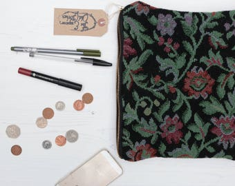 Tablet Case: 'Garden Path' travel pouch floral cotton brocade padded zipper hand sewn handmade by The Emperor's Old Clothes