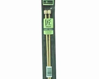 "Size 8 Straight Knitting Needles - 9"" Clover Takumi Bamboo Straights - 5.0 mm - Worsted and Aran Yarns - New"