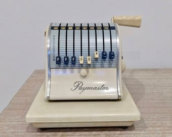 Vintage 1960s Paymaster X-2000 eight column check writer, industrial checkwriter, vintage office, Paymaster corp Chicago, check printer