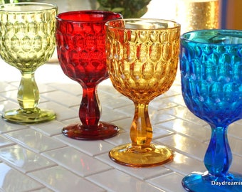 4 Boho Colored Goblets Fenton Thumbprint  Water Glasses