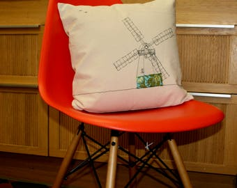 Cushion cover with freehand machine embroidered windmill