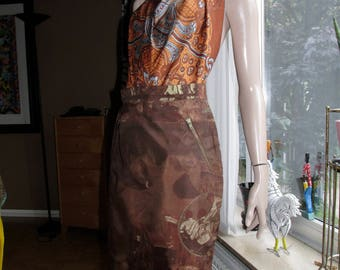 Cento X Cento by Iceberg.Italian- made vintage skirt.Brown figural-print skirt.