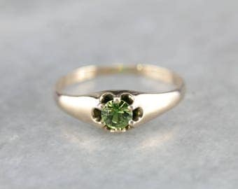 Antique Demantoid Garnet Rose Gold Ring, Antique Belcher Ring PURH9U-N