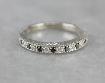 Etched Black and White Diamond Band, Anniversary Band, Stacking Band H9UPZR-D