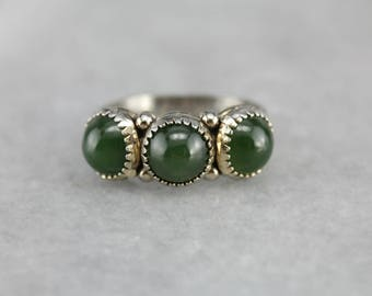 Jade Three Stone Ring, Multi Stone Ring, Cabochon Ring, Sterling Silver Jewelry 4M9ERJPY-P