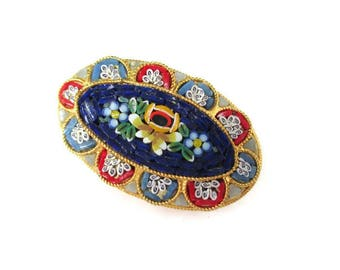 Italian Micro Mosaic Pin/ Oval Blue Micromosaic Brooch/ Red Millefiori  Floral Gold Tone Pin / Yellow Flowers Roped Bezel