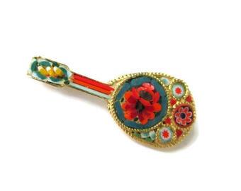 Italian Micro Mosaic Pin/ Green  Mandolin  Micromosaic Brooch/Red Floral Gold Tone Guitar Pin /Red Yellow  Green Millefiori Glass