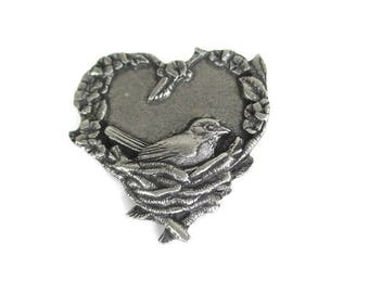 Birds And Blooms Pin/ Nesting Bird Brooch / Pewter Heart Leaf Motif Avian Pin/ Bird Lover Gray Pin