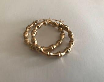 14K EG Eternal Gold Yellow Gold Asian Influence Bamboo Hoop Style Pierced Earrings Marked 14K EG
