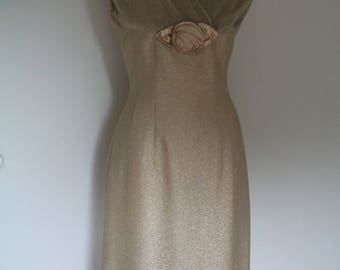 Blanes 1950s Wiggle Dress - Gold Metallic - Crossover Bodice - Micro Pleated Bodice & Shoulders - Satin Flower Decoration