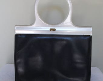 1950s Navy Blue Leather Handbag with Round Pearlised Lucite Handles - By Lodix England