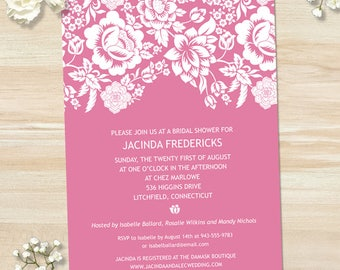 Modern Floral Pink Damask Bridal Wedding Shower Invitation, Editable PDF Instant Download